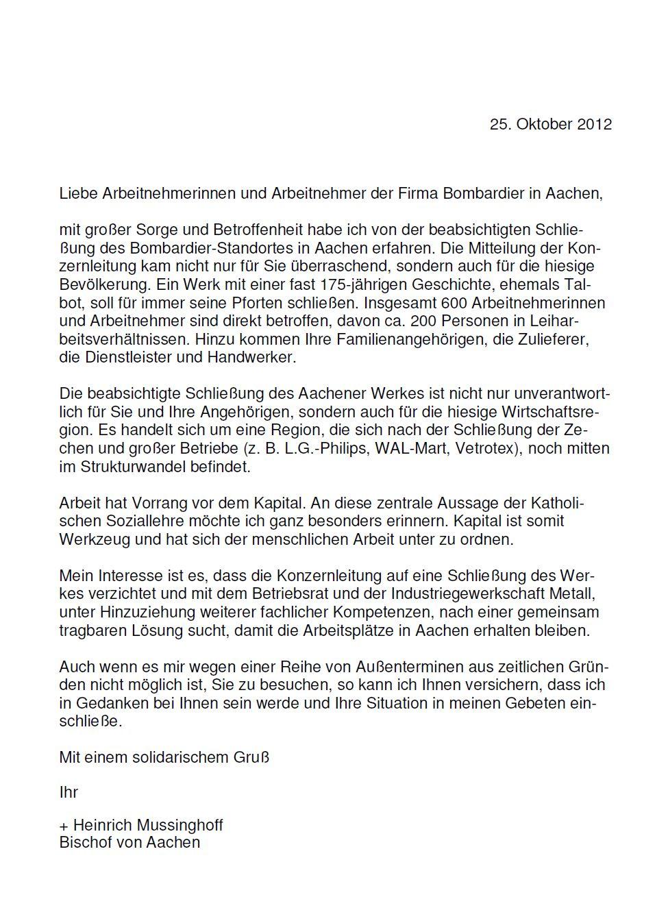 Solidaritätserklärung des Aachener Bischofs